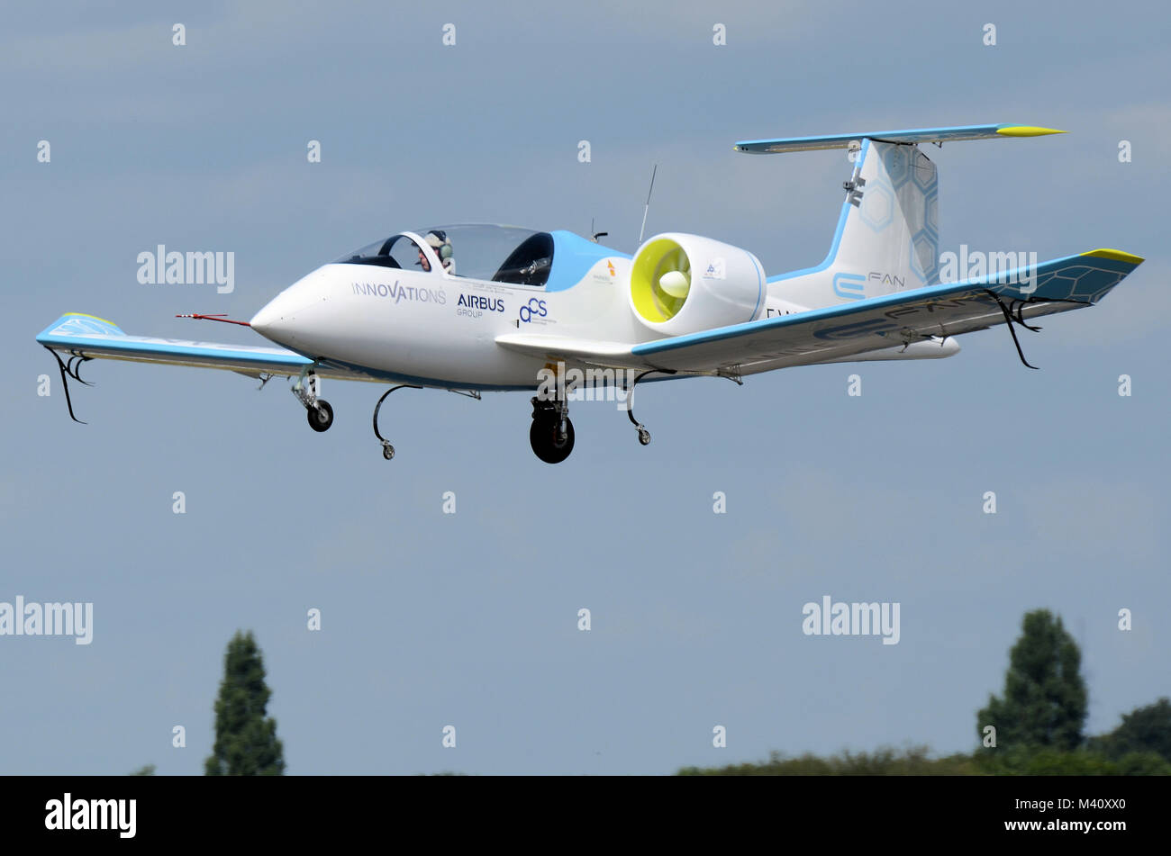 Airbus E-Fan is a prototype two-seat electric aircraft being developed by Airbus Group. Flying at the Farnborough - Stock Image