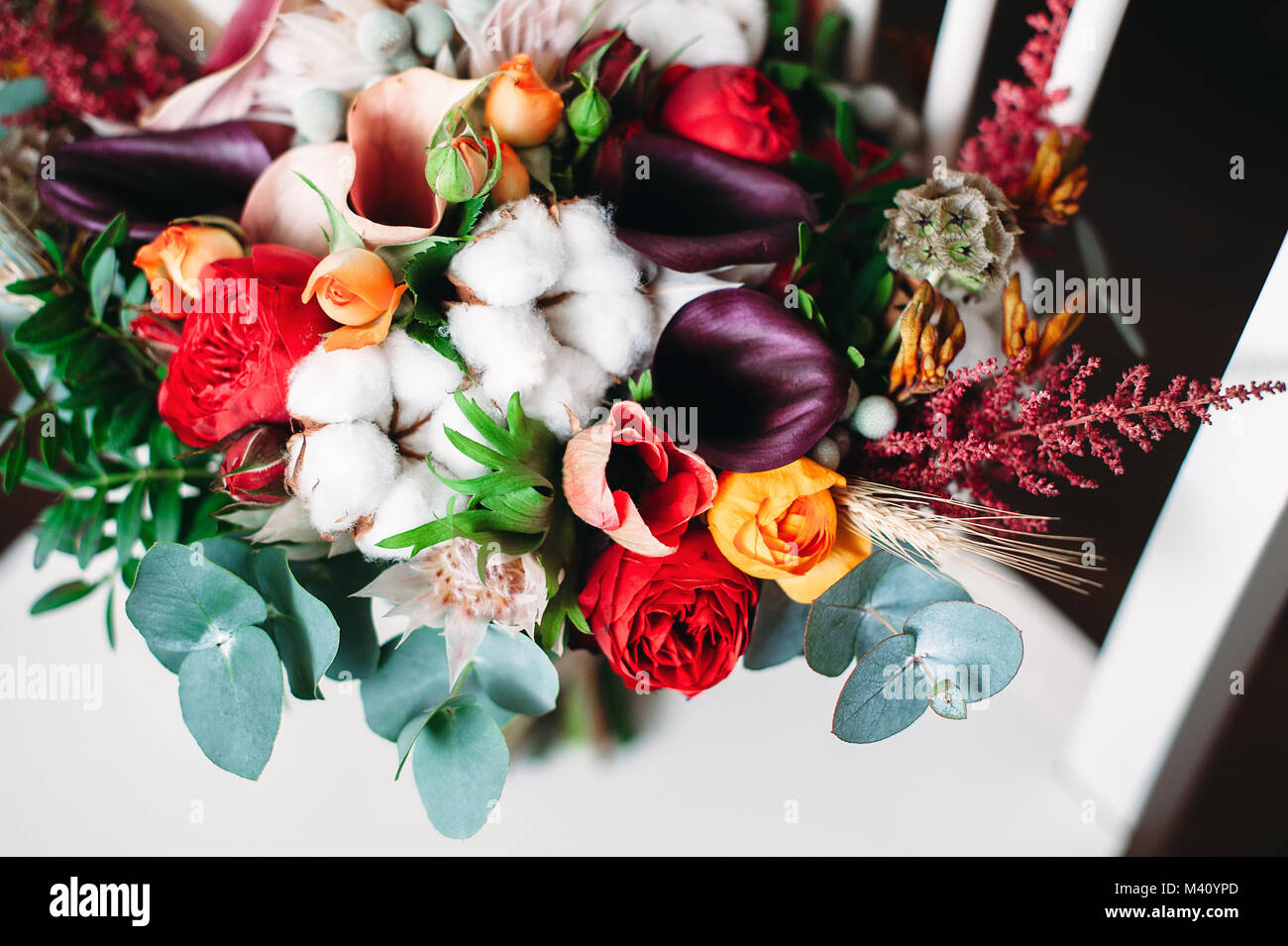 075836bbd0c4 Wedding bouquet in boho chic and rustic style with cotton