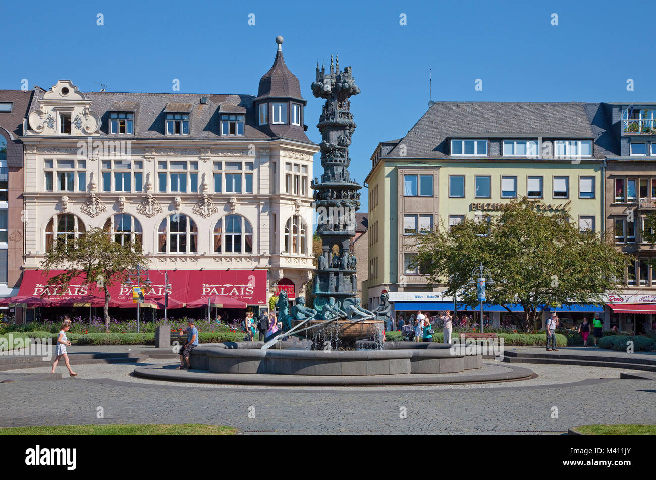 History Column, a elaborate fountain at Josef-Goerres-place shows the history of the city, old town of Coblenz, - Stock Image