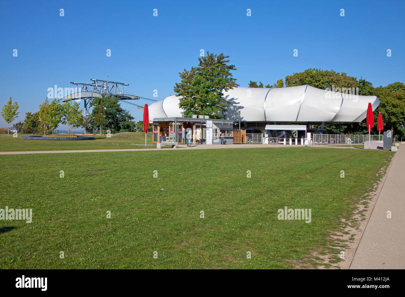 Cable car station at fortress Ehrenbreitstein, Coblenz, Rhineland-Palatinate, Germany, Europe - Stock Image