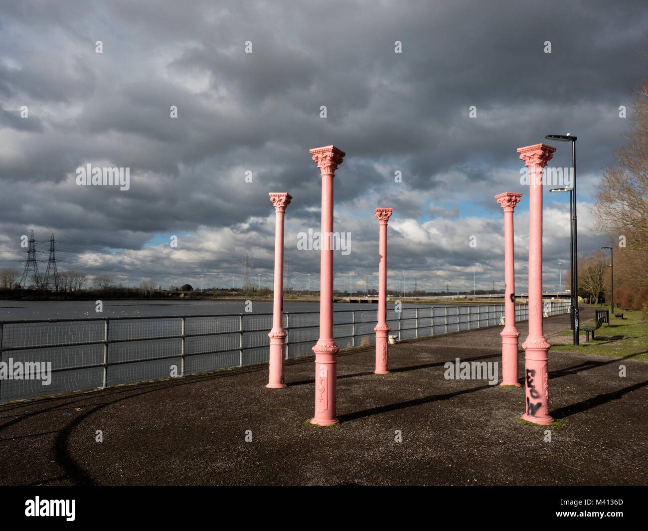 Metal Columns painted pink at the Redbridge Wharf Park, gifted to the residents of Redbridge by ABP Ltd, Southampton, - Stock Image