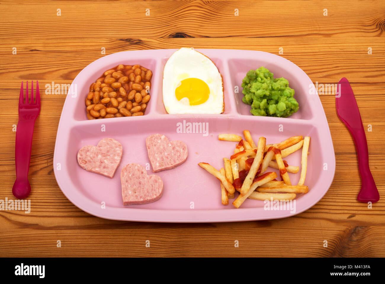 Child's TV dinner - Stock Image
