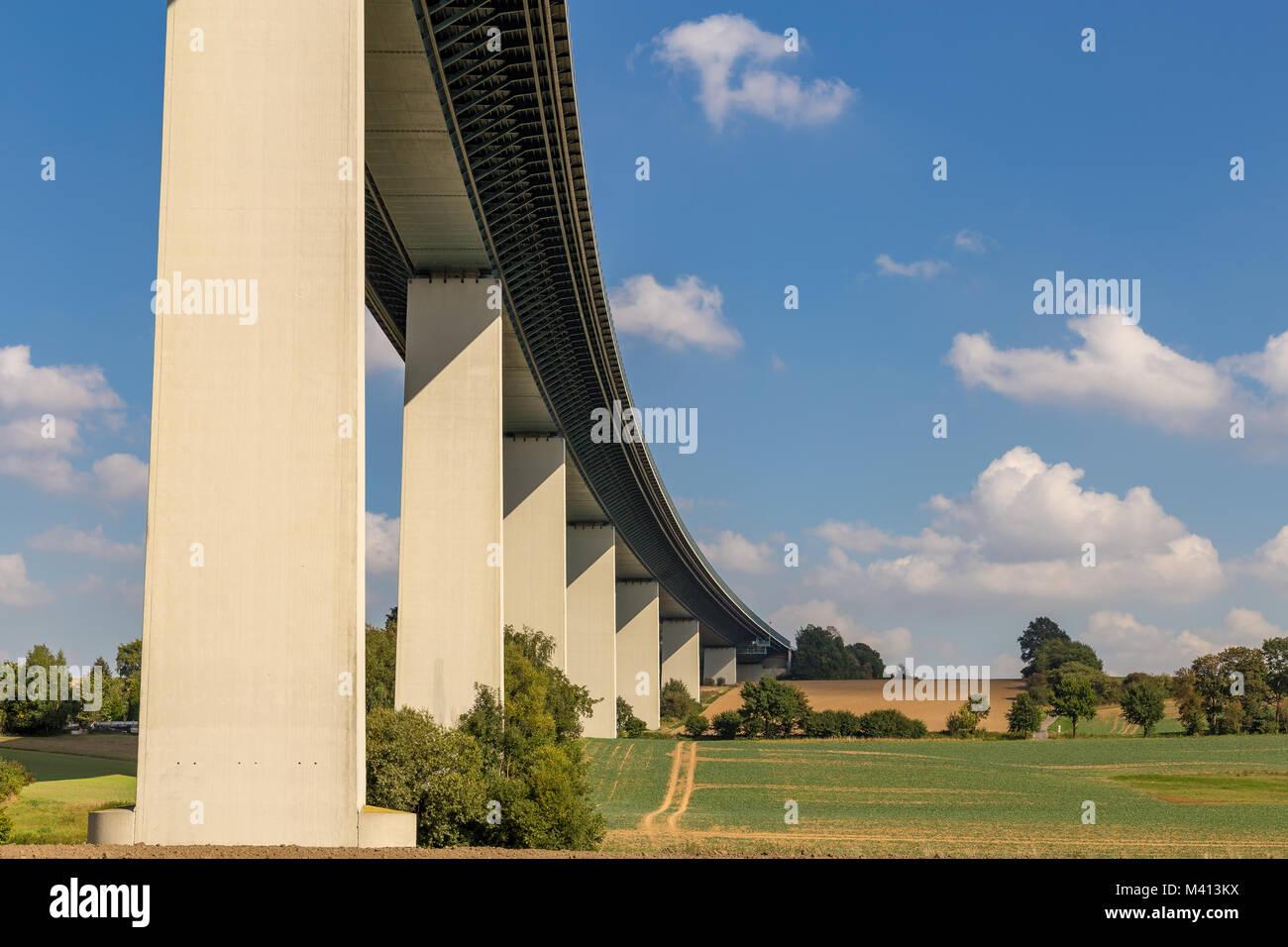 Ruhrtalbruecke (Ruhr Valley viaduct) near Muelheim, Ruhr Area, North Rhine-Westphalia, Germany - Stock Image