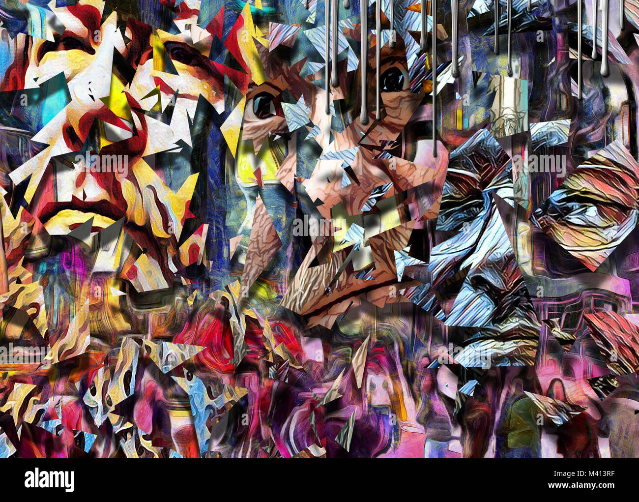 Complex abstract painting. Colorful mosaic elements and pieces of men's faces. - Stock Image