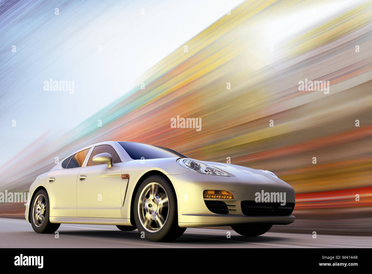 3D rendering of a sport car on motion at high speed - Stock Image