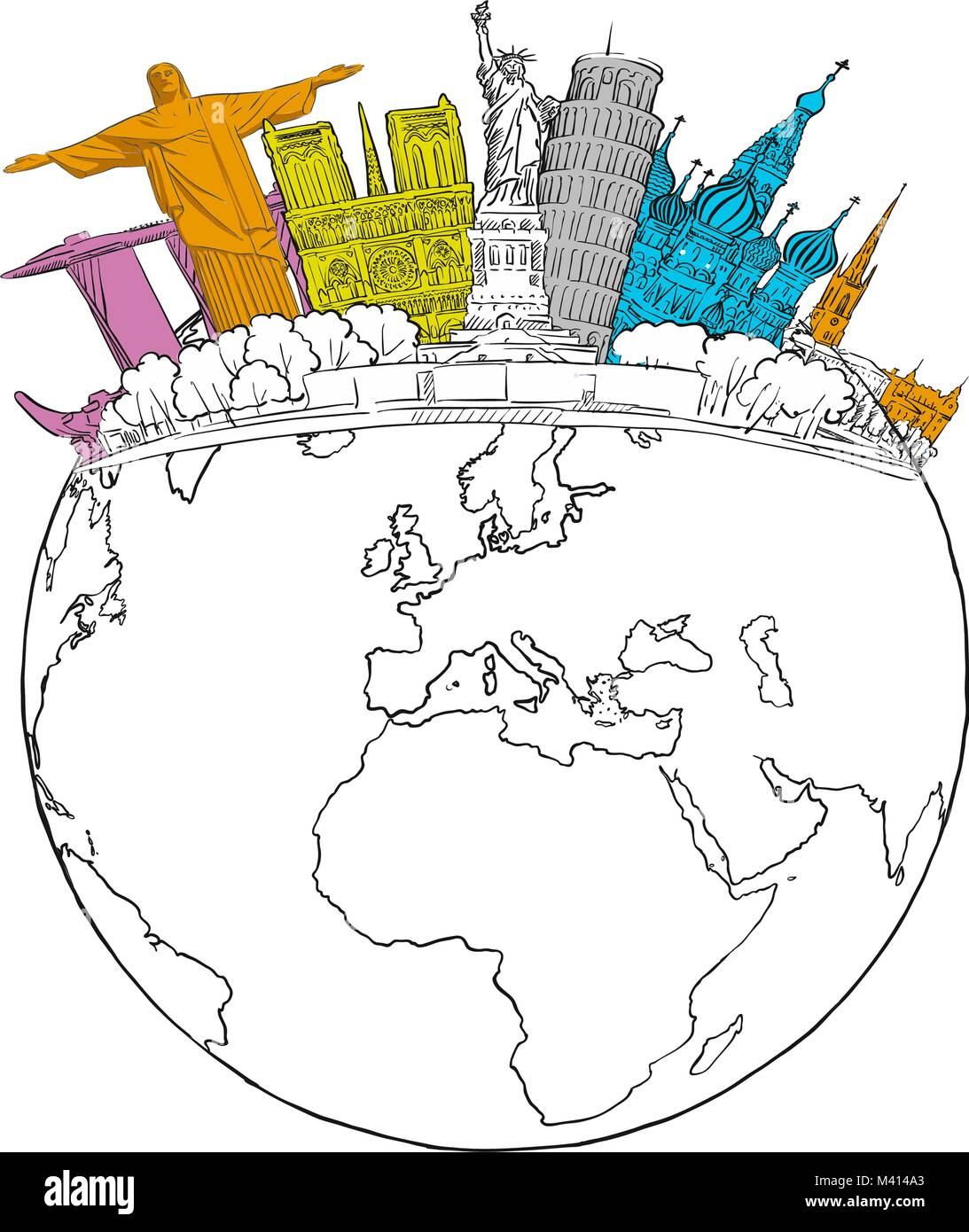 Travel To World Landmarks On Globe Tourism Sketch Concept With Sketched Earth Travelling Vector Illustration Hand Drawn Modern Drawing