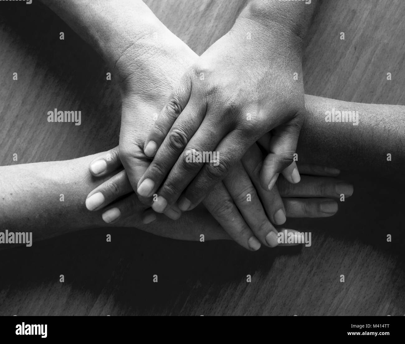 looking down on four fifty year old female hands placed ontop of each other, the top hand and third hand are Asian - Stock Image