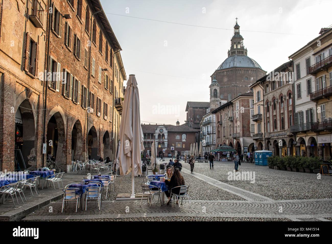 Victory Square (piazza della Vittoria) in Pavia, Lombardy, northern Italy Stock Photo