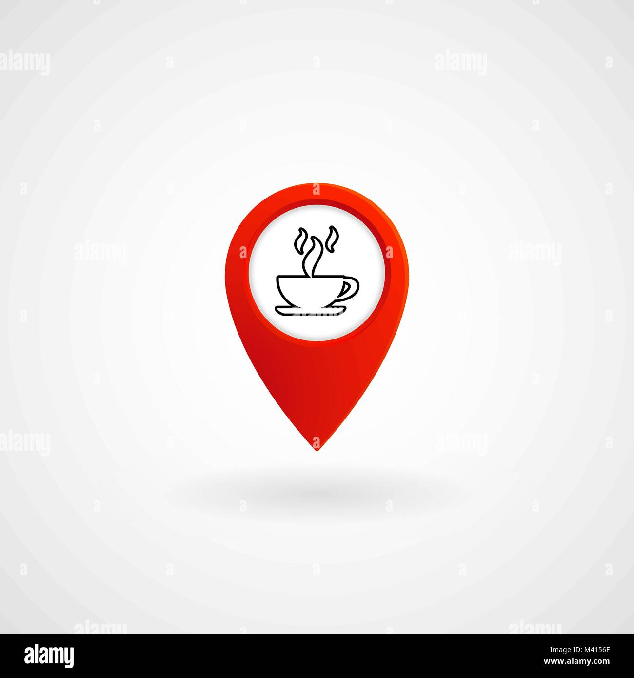 Red Location Icon for Cafe, Vector, Illustration, Eps File - Stock Vector