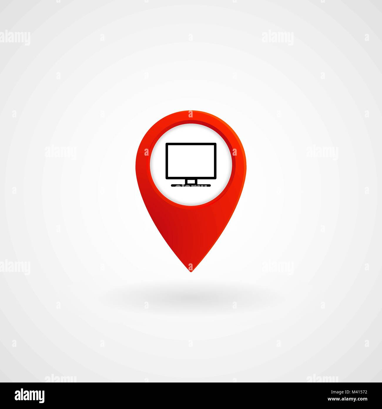 Red Location Icon for Computer Center, Vector, Illustration, Eps File Stock Vector