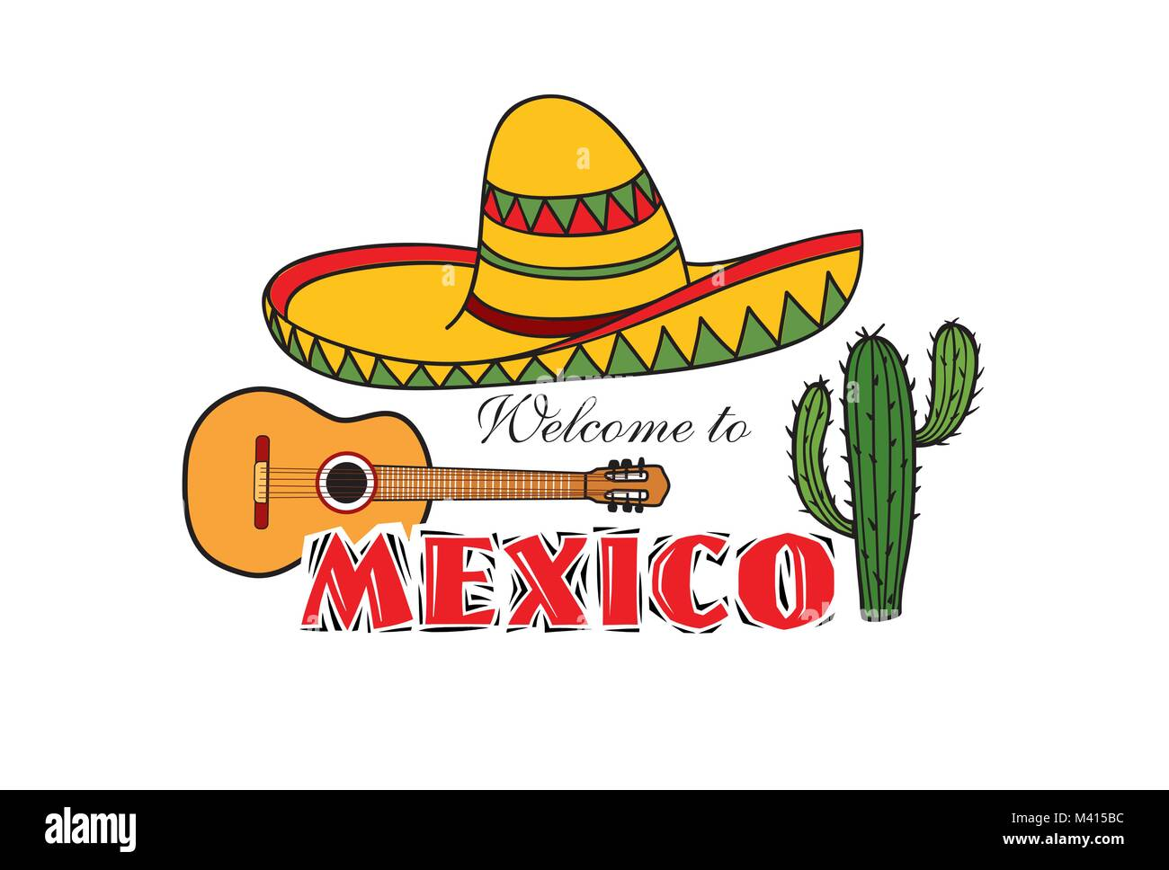1c9468b1220 Mexican icon. Welcome to Mexico sign. Travel sign with cactus and sombrero  hat