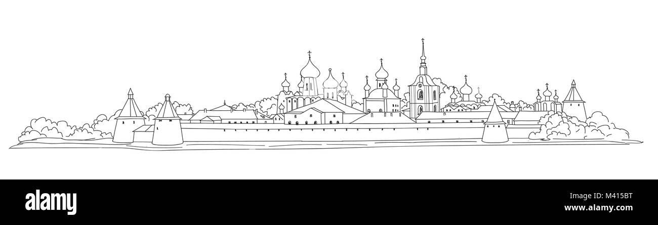 Russian famous landmark Solovki. Skyline view. Landscape of Solovki monastery. Travel Russia background. Hand drawn - Stock Image