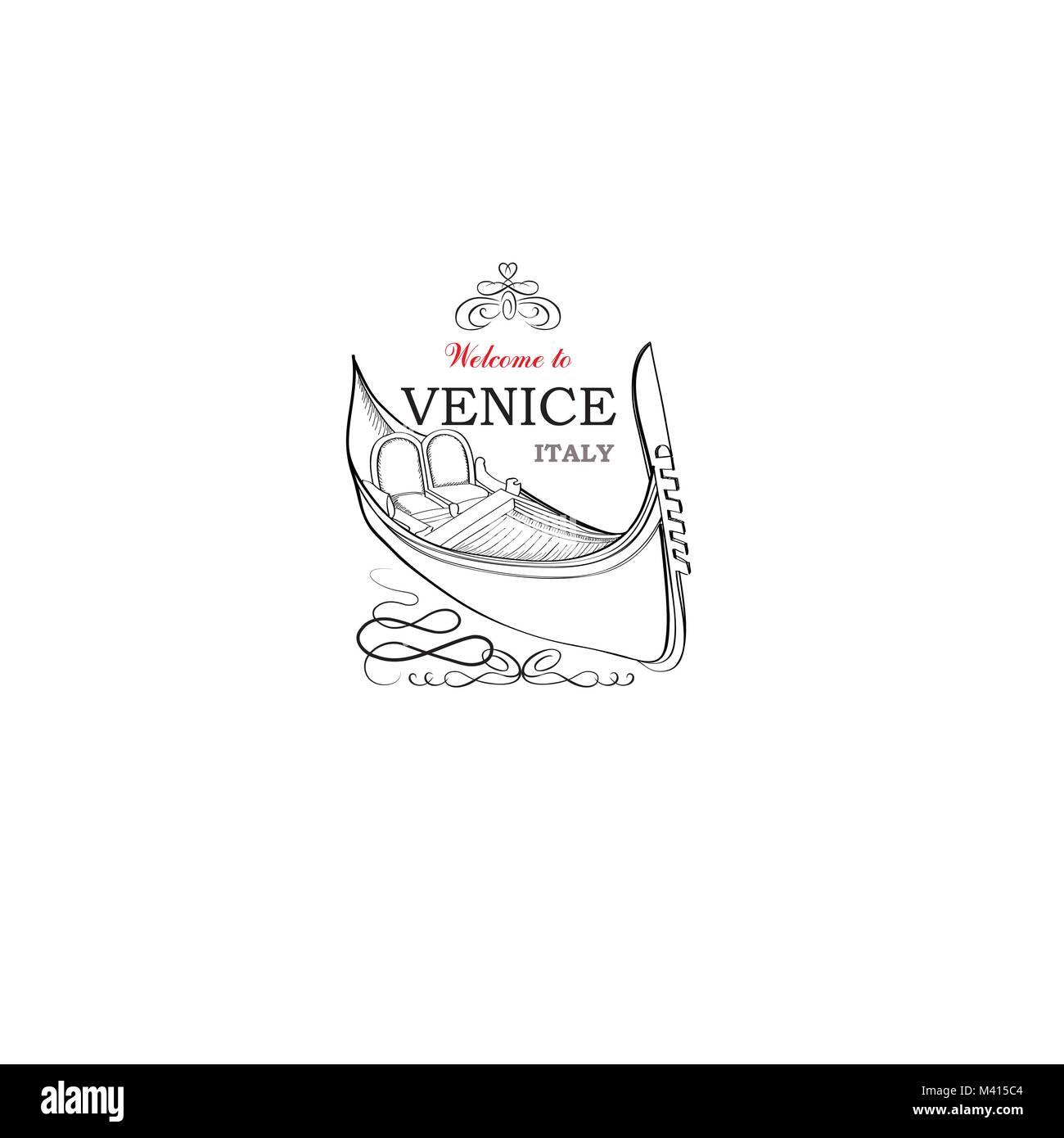Venice city symbol. Tourist venetian landmark gondola. Travel Italy icon. - Stock Image