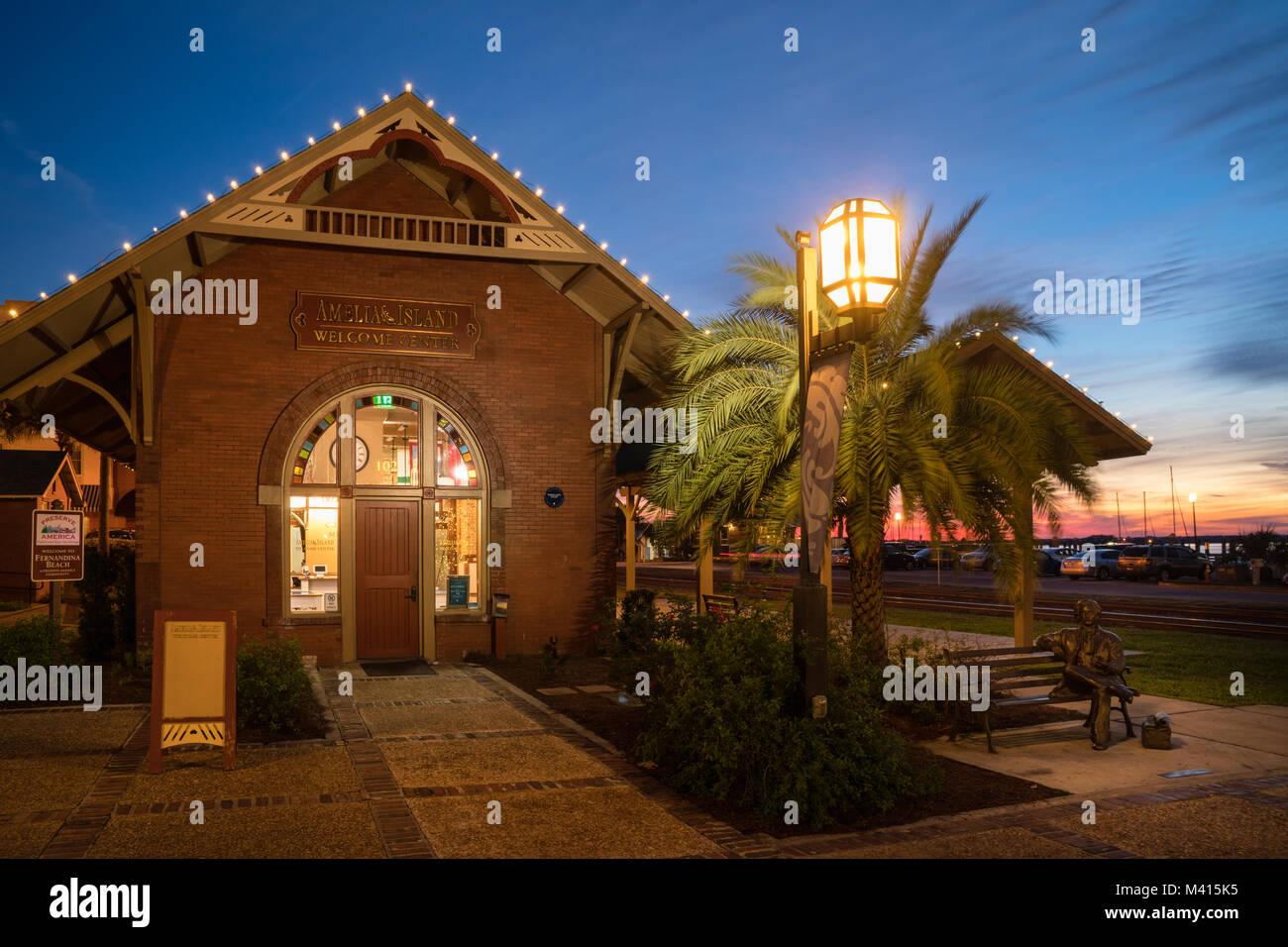 Historic Downtown Centre Street Train Station at Night, Amelia Island, Florida - Stock Image