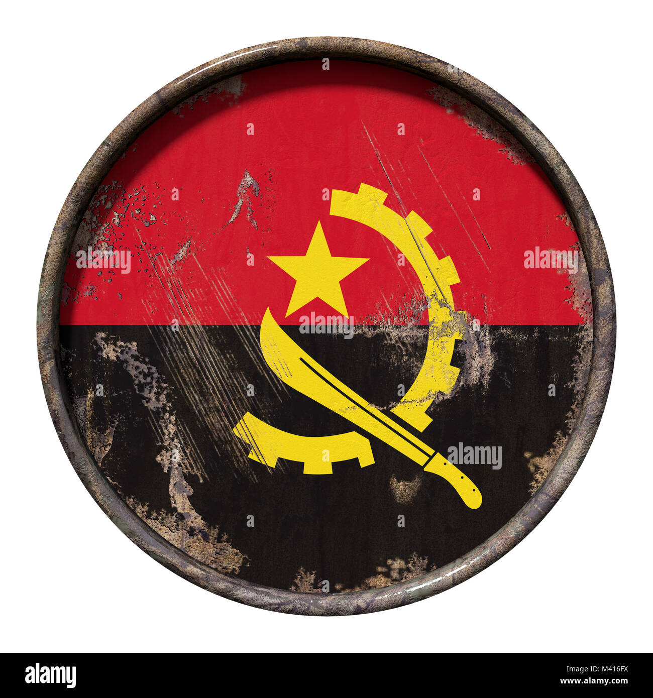 3d rendering of an Angola flag over a rusty metallic plate. Isolated on white background. - Stock Image