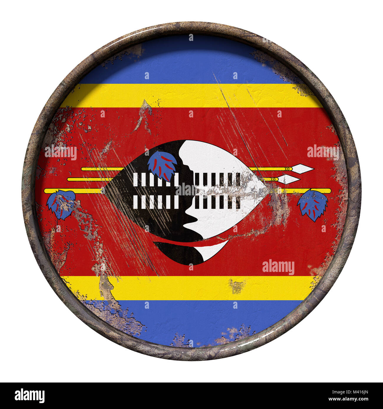 3d rendering of a Kingdom of Swaziland flag over a rusty metallic plate. Isolated on white background. Stock Photo