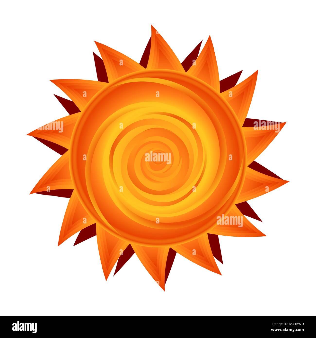 Vector paper sun In yellow and orange Sunny symbol - Stock Vector
