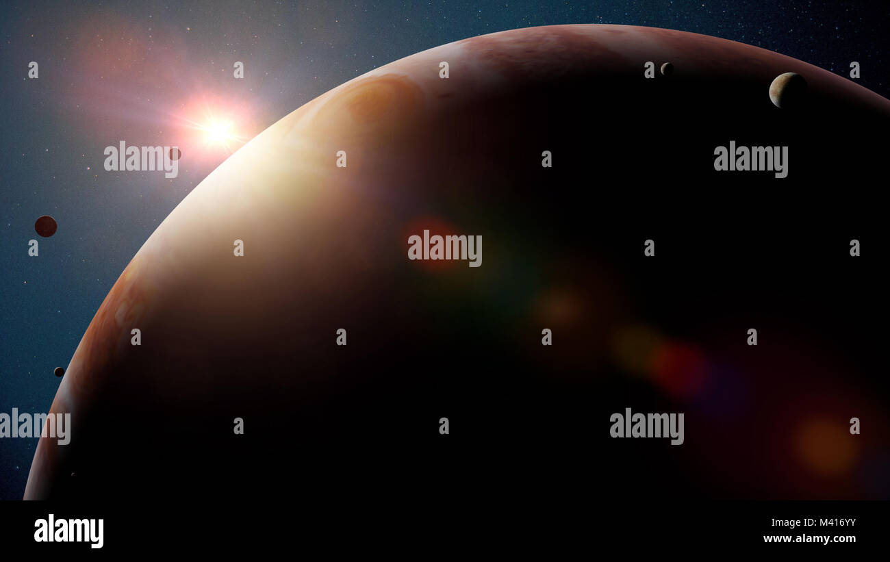 planet Jupiter with moons, sunrise over the gas giant (3d render, elements of this image are furnished by NASA) - Stock Image