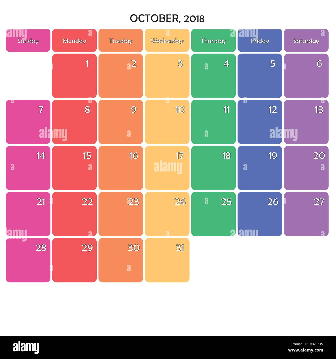 october 2018 editable calendar