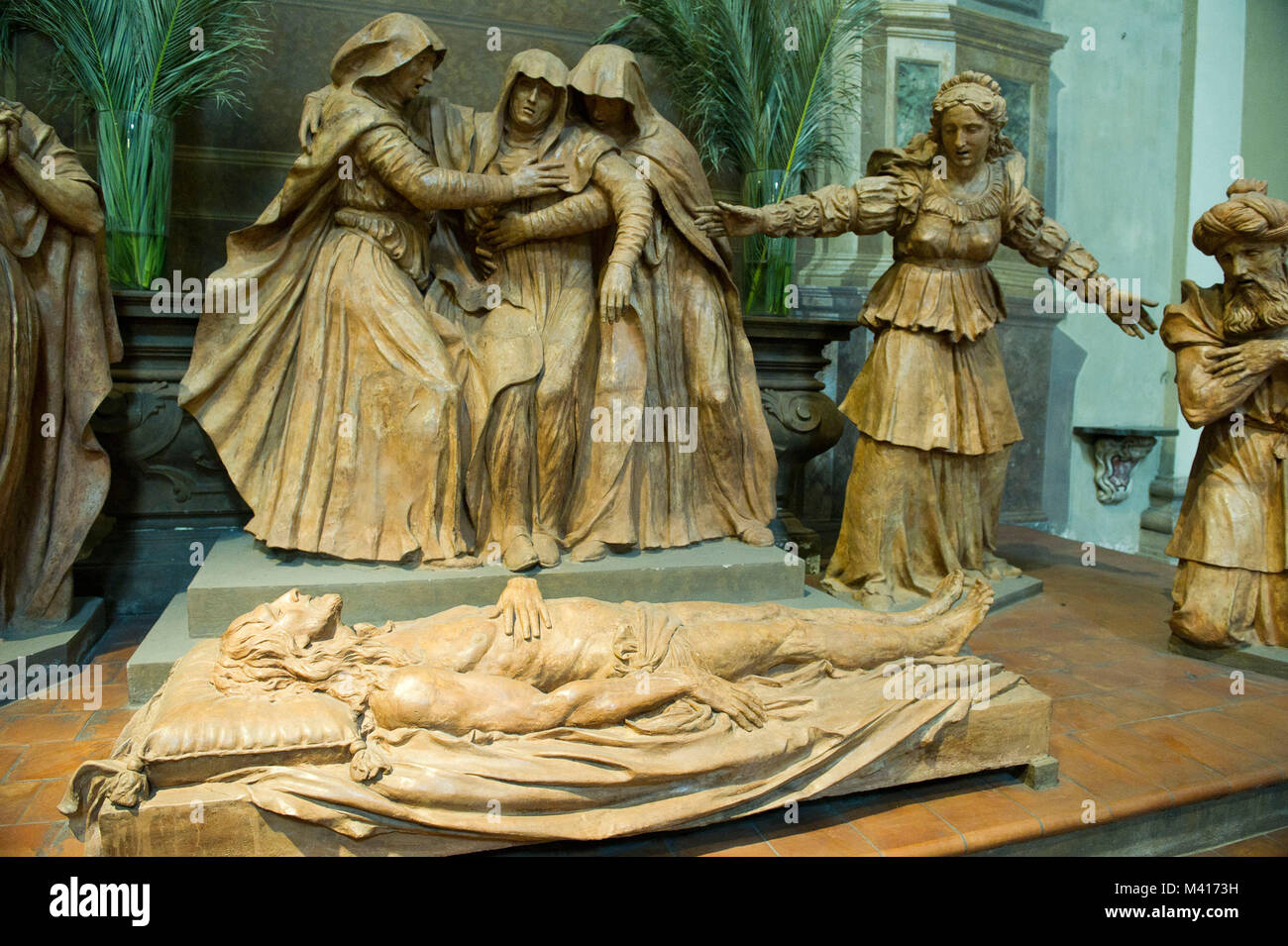 Italy, Emilia Romagna, Bologna, St. Peter's cathedral, the sculptural group in terracotta called The Fallen - Stock Image