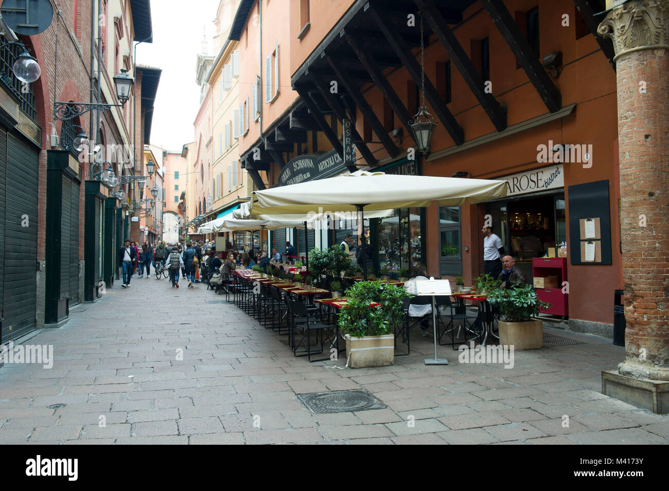 Italy, Emilia Romagna, Bologna, Clavature street , bar and bistrot and restaurant. - Stock Image