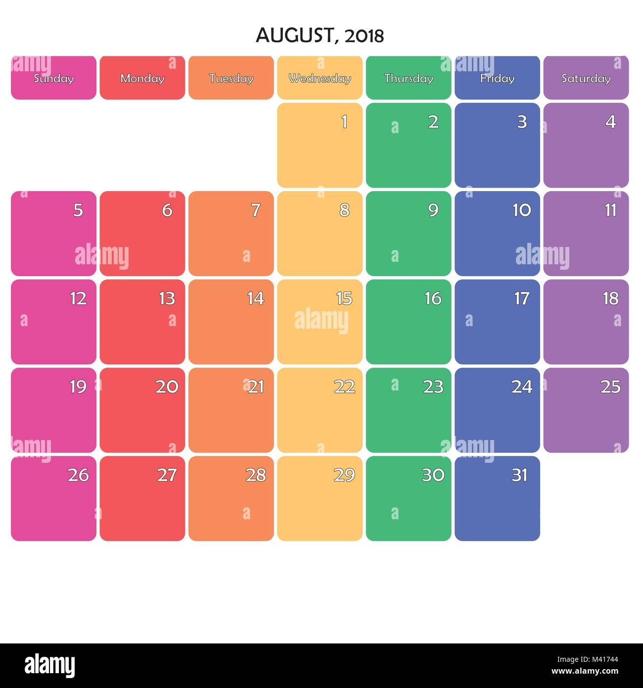 Big Calendar Planner : August planner calendar big editable note space