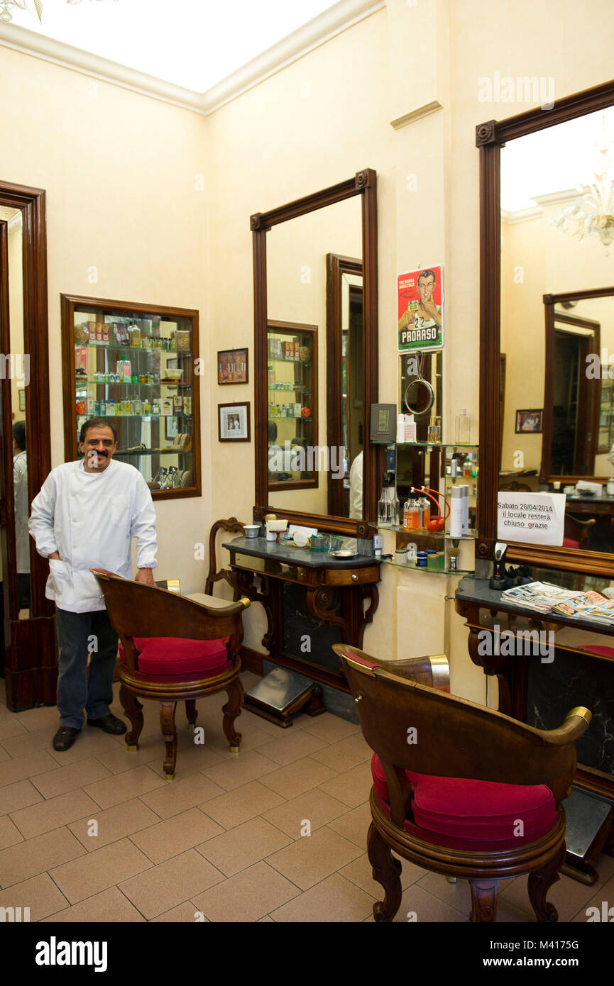 Italy, Bologna, barber shop - Stock Image