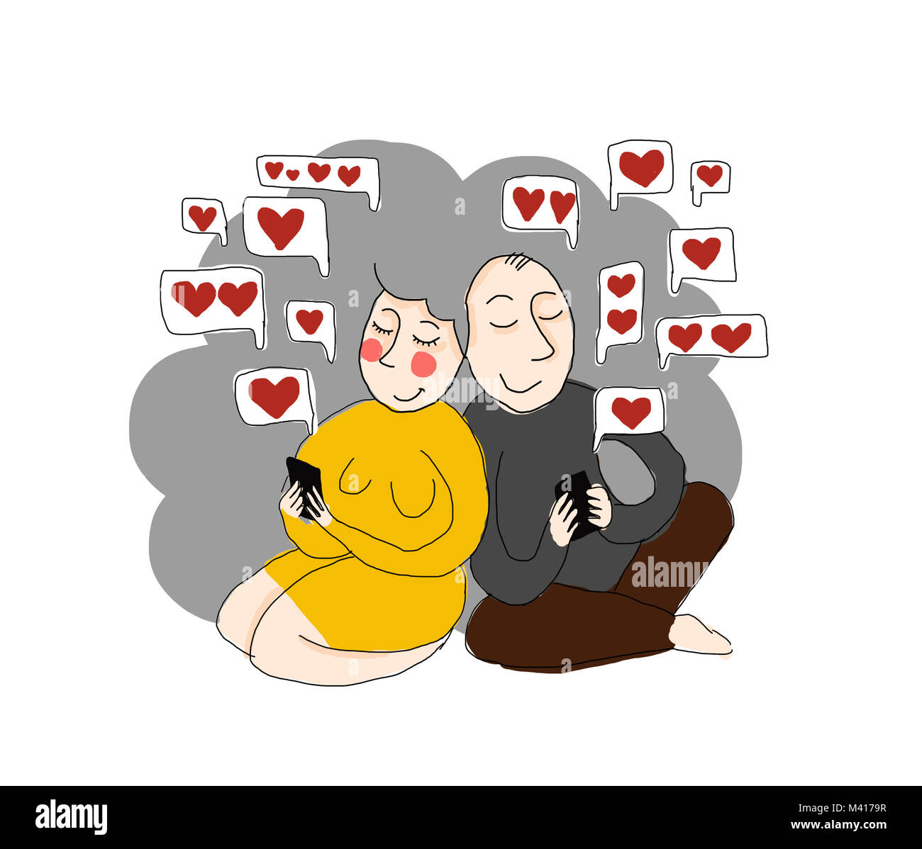 love sms - illustration, two old people / grandparents / using phones. love in old age. - Stock Image