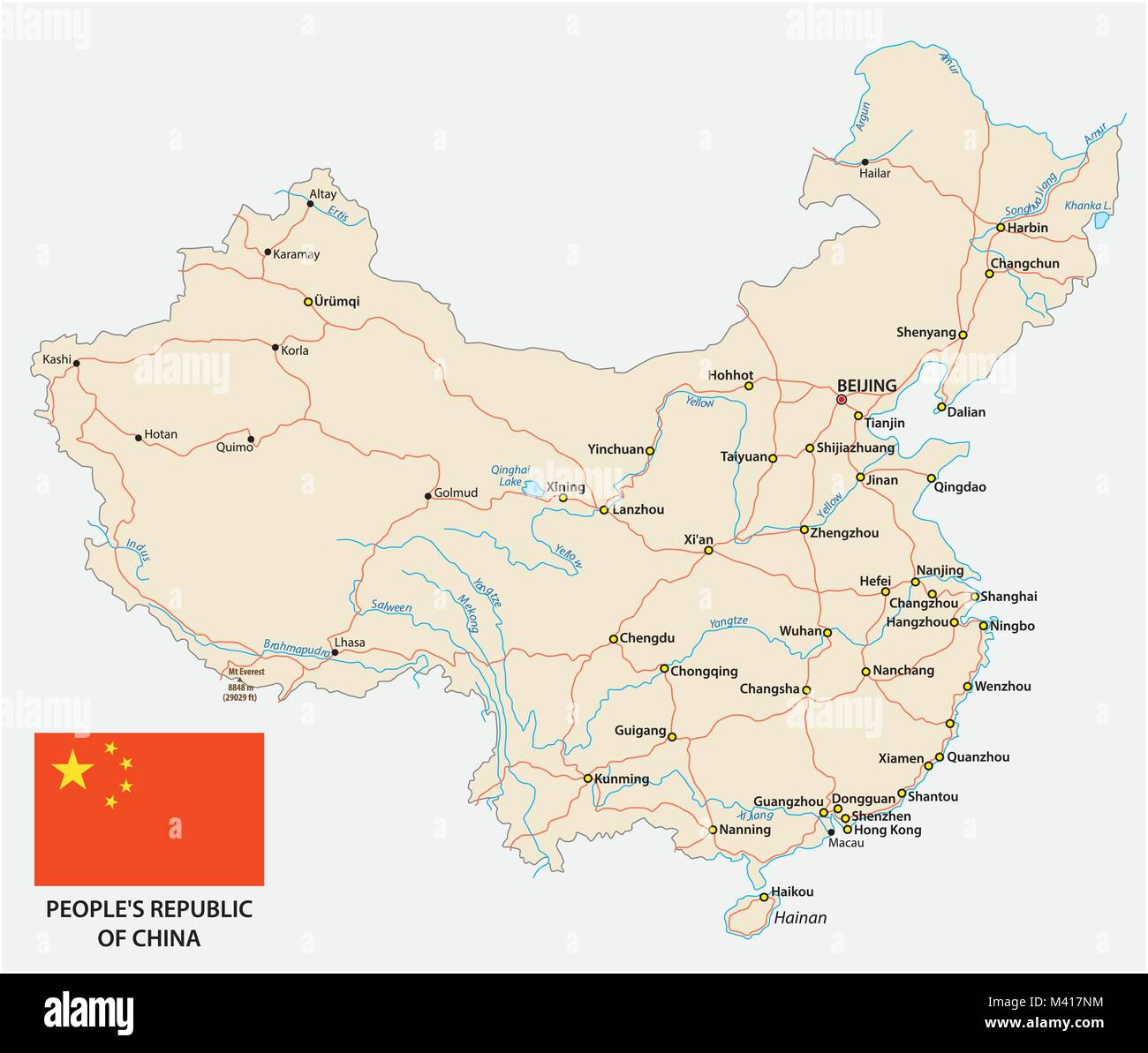 People's Republic of China road vector map with flag - Stock Vector