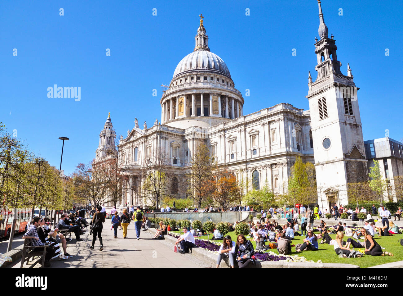 St Paul's Cathedral and Festival Gardens, London, England, UK - Stock Image