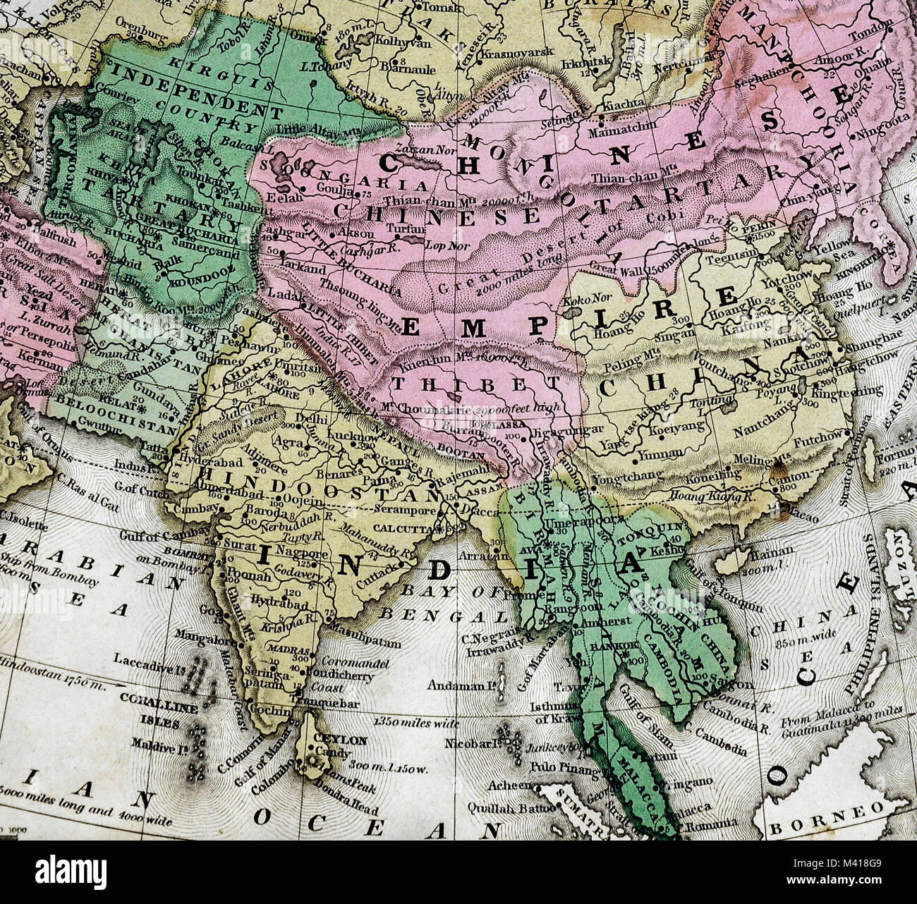 Map Of Asia Japan And China.1839 Mitchell Map Asia China Japan Korea India Russia Siberia
