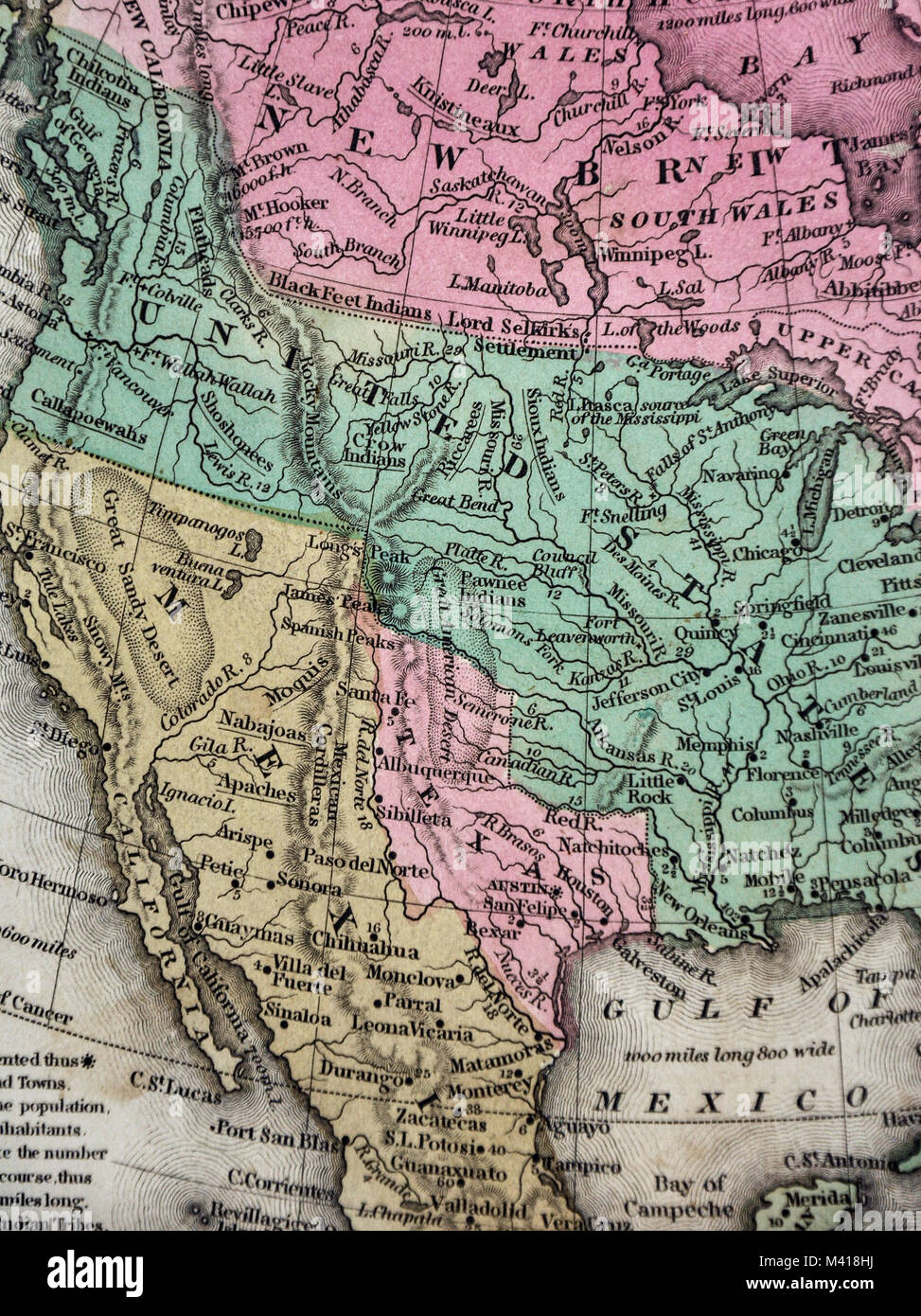 1839 mitchell map republic of texas united states mexico north america