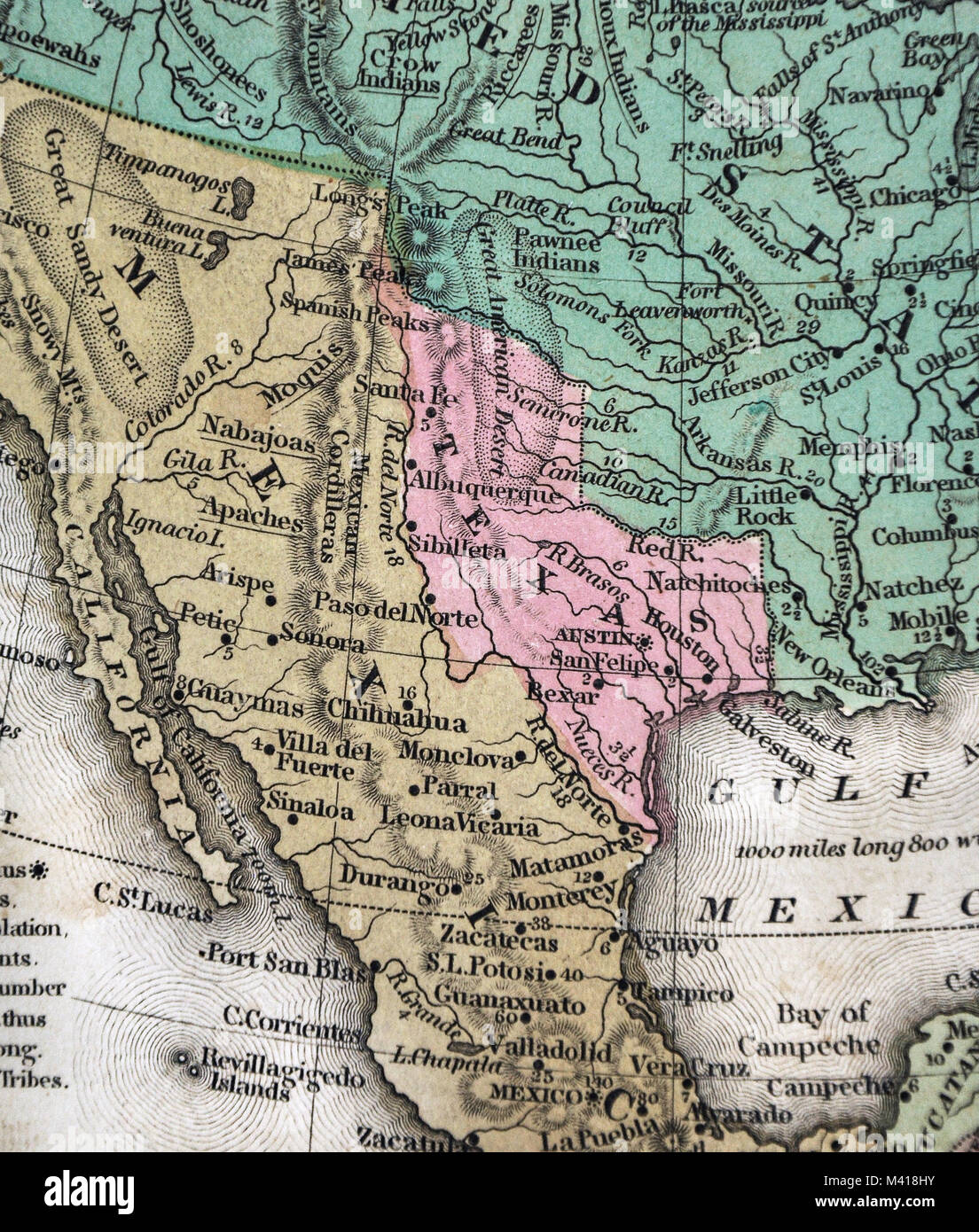 1839 Mitchell Map Republic of Texas United States Mexico North