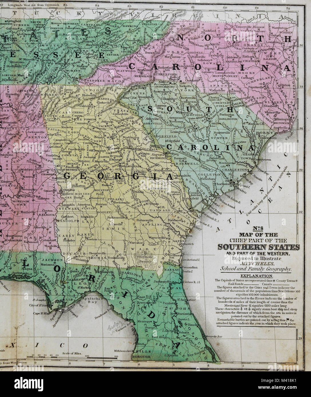 1839 Mitchell Map   United States South   Southern States