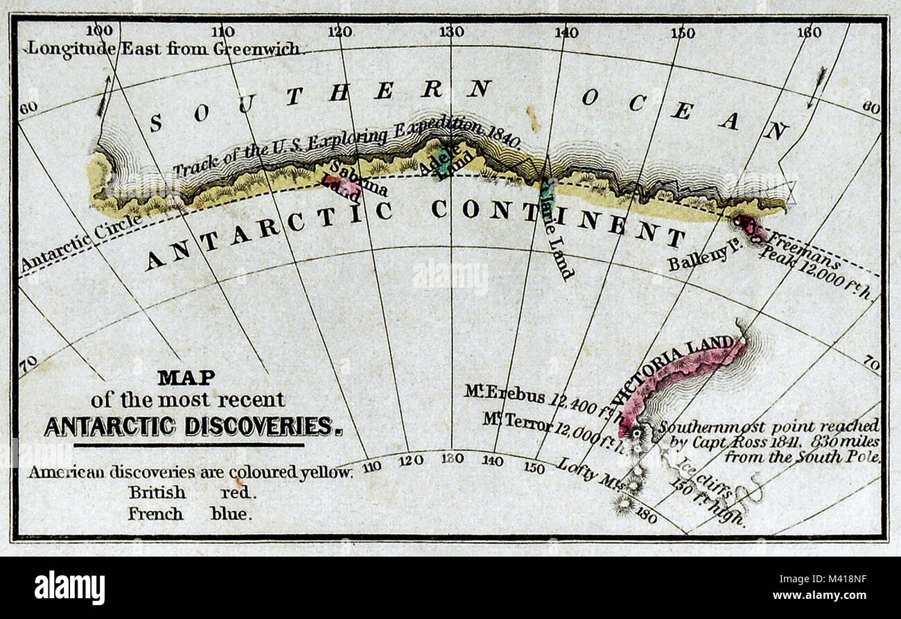 1839 Mitchell Map - Antarctica - Antarctic Discoveries - South Pole - Stock Image