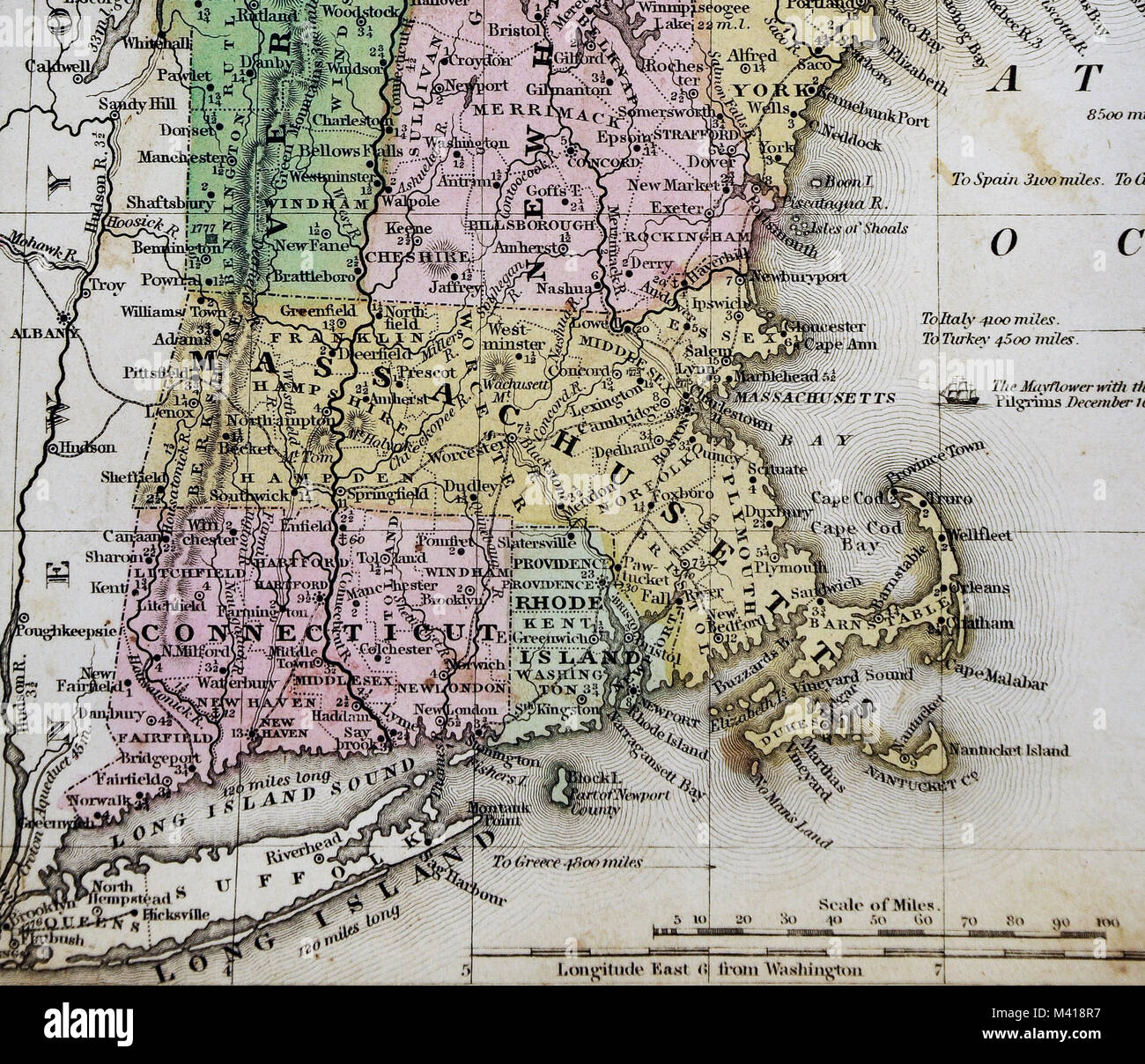 Antique Map Of Massachusetts Stock Photos Antique Map Of - Antique map of maine