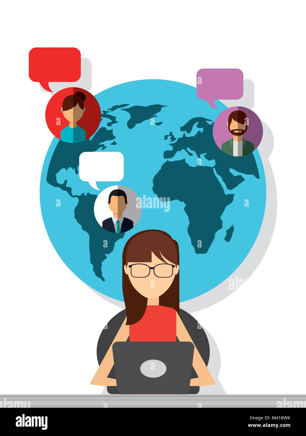 woman sitting with laptop chatting globe people bubbles