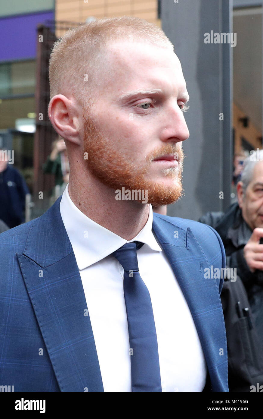 England and Durham cricketer Ben Stokes, 26, leaves Bristol Magistrates' Court where he was told he will face - Stock Image