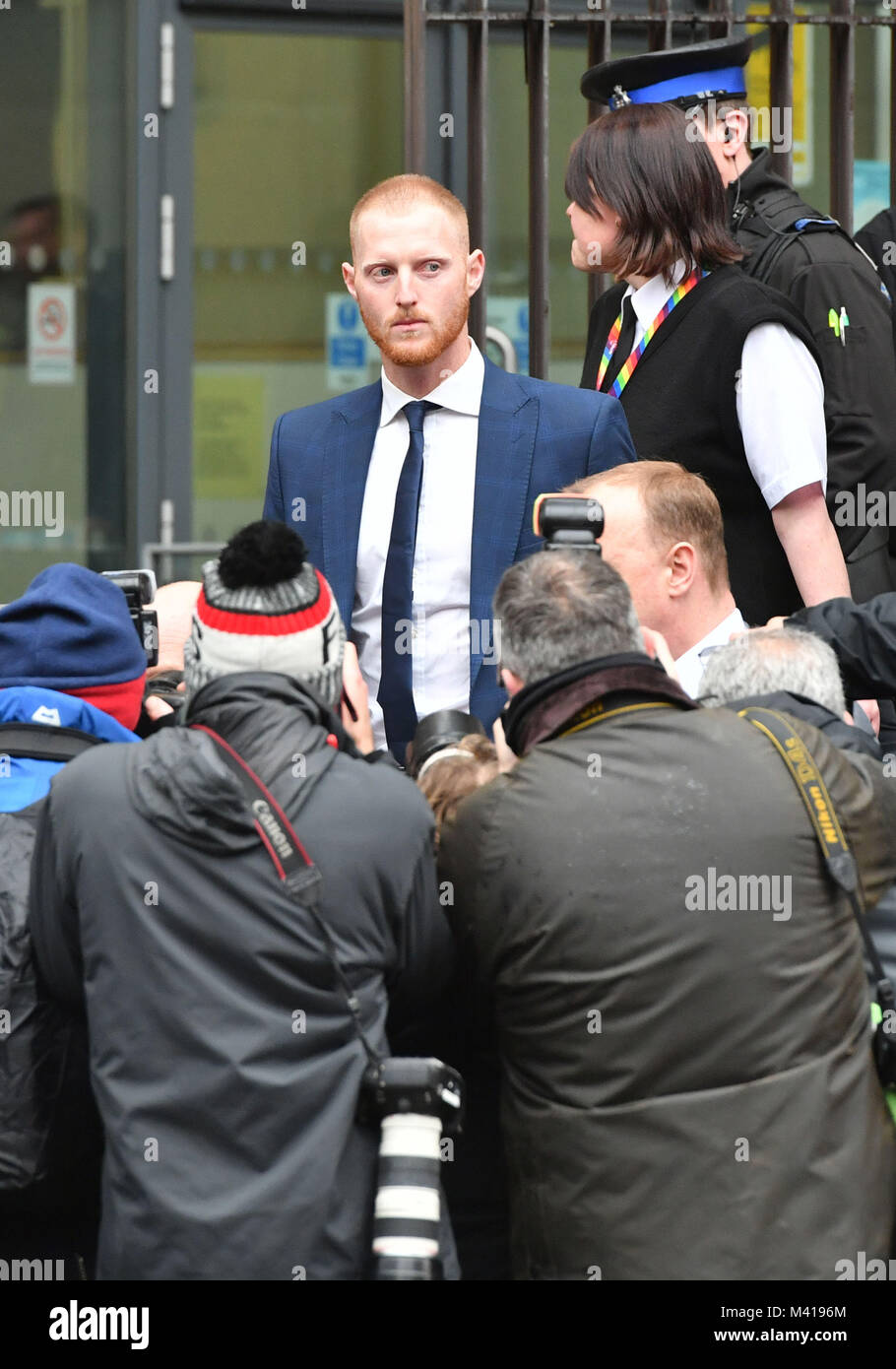 England and Durham cricketer Ben Stokes, 26, leaving Bristol Magistrates' Court, where he was told he will face - Stock Image