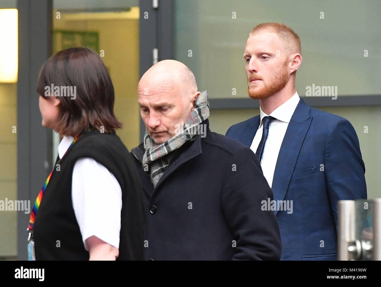 England and Durham cricketer Ben Stokes, 26, (right) leaving Bristol Magistrates' Court, where he was told he - Stock Image