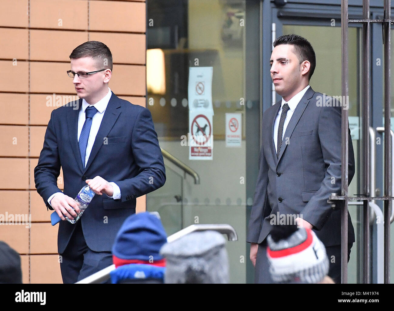 Ryan Hale (left) and Ryan Ali leaving Bristol Magistrates' Court, where they and England and Durham cricketer - Stock Image