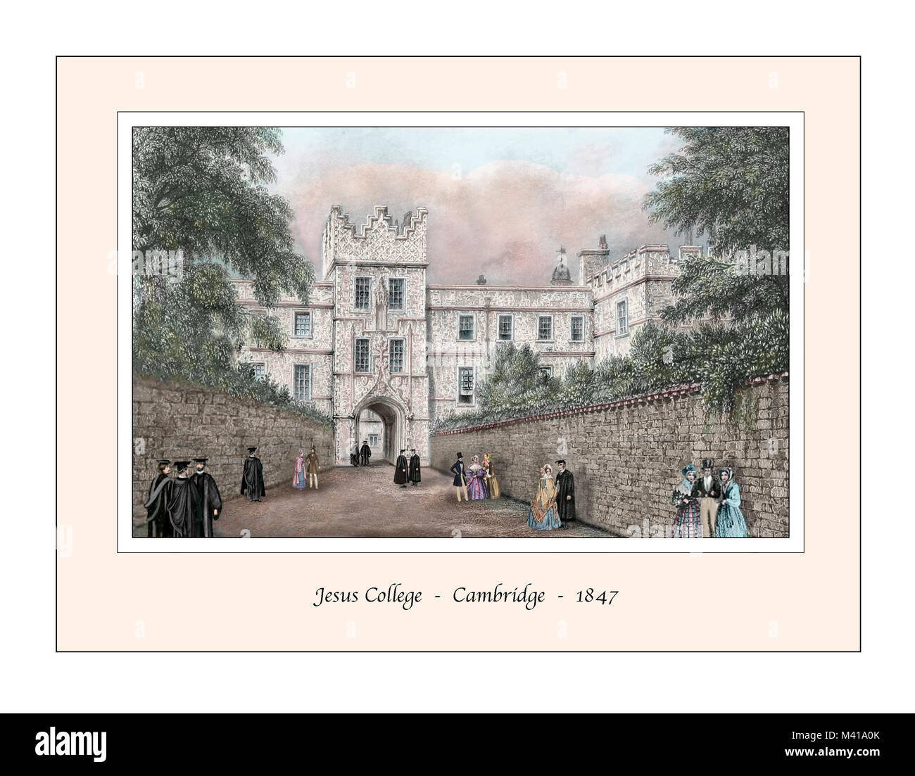 Jesus College Cambridge Original Design based on a 19th century Engraving - Stock Image