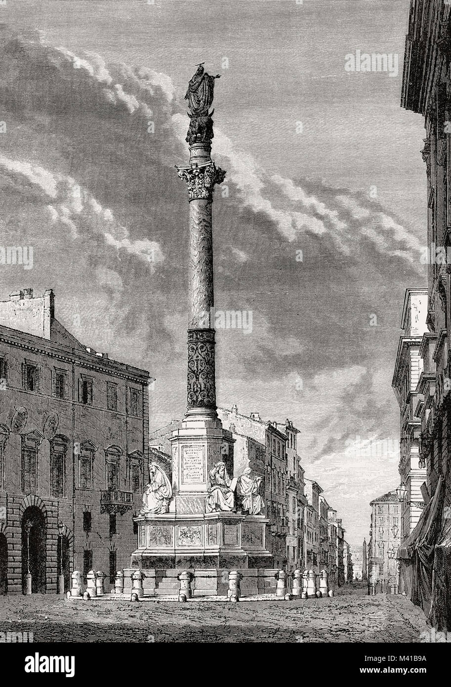 The Column of the Immaculate Conception, Rome, Italy, 19th Century - Stock Image