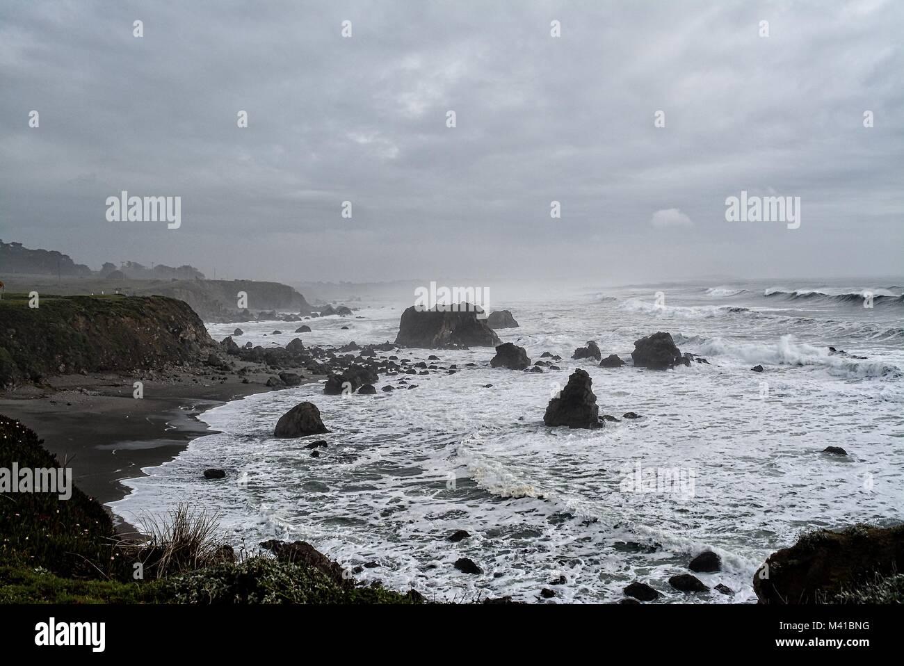 Bodega Bay - California - rainy day with many clouds - Stock Image