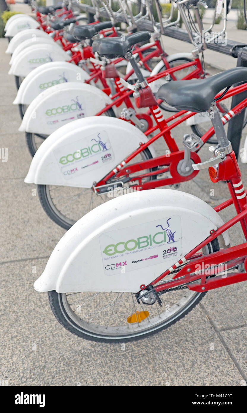 Begun in 2010, the ECOBICI bike-sharing initiative of Mexico City has become a successful alternative transport - Stock Image