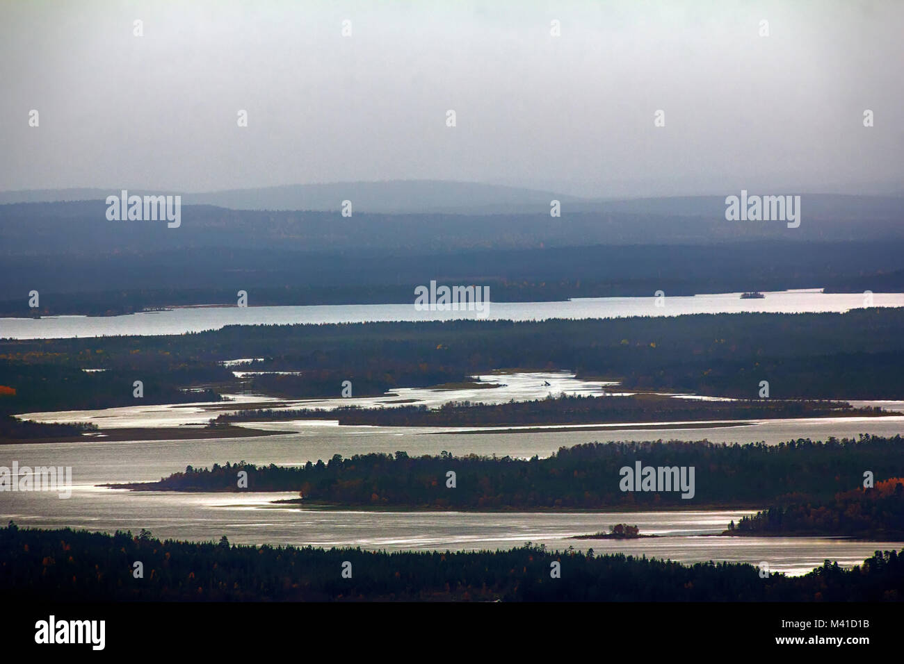 Lake district and vast Northern forests of East Russia. Great Bear, Siberia, misty taiga, Siberian ridges - Always - Stock Image