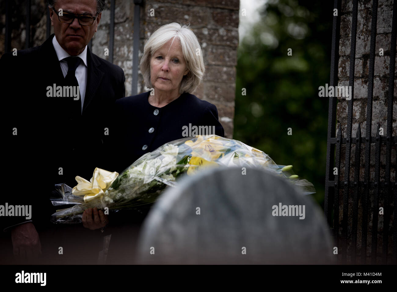 Senior couple at a funeral - Stock Image