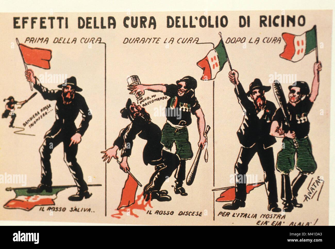 effects of castor oil, Fascist postcard, 1921 Stock Photo