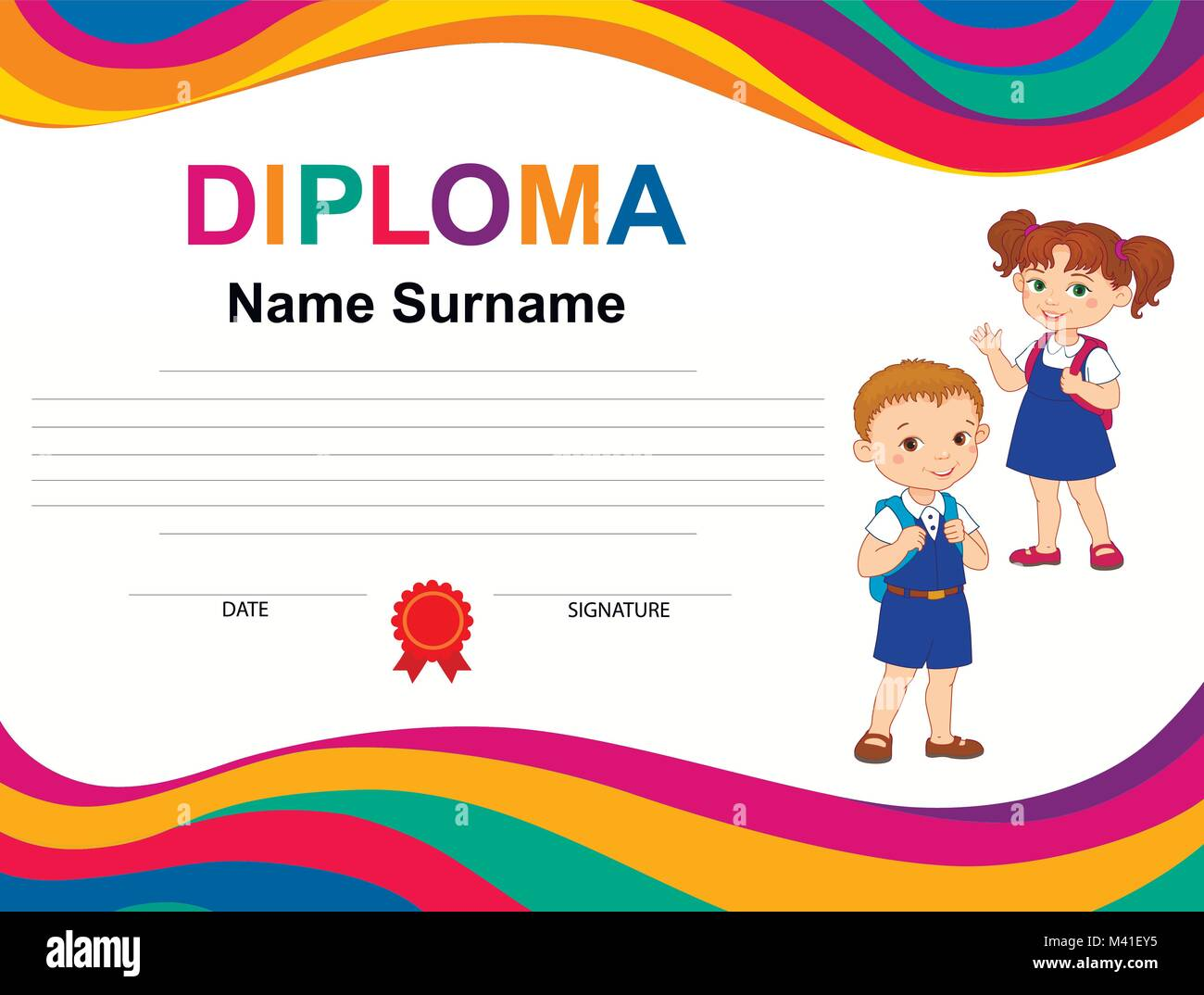 Kids Diploma Certificate Background Design Template Stock