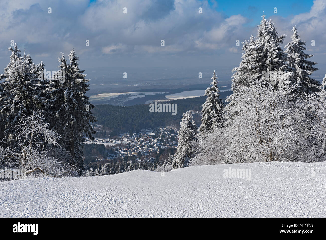 Panoramic view in winter from Feldberg Taunus to the municipality Niederreifenberg Stock Photo